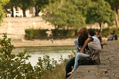 After Berthillon ice cream (deadlyhappy Images) Tags: autumn paris seine kiss couple riverside ishetryingtokillher