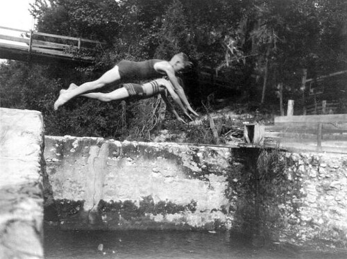 Diving in the water at the Suwannee Club camp: Suwannee Springs?, Florida