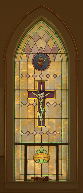 Saint Patrick Roman Catholic Church, in Grafton, Illinois, USA - stained glass window with Immaculate Heart of Mary
