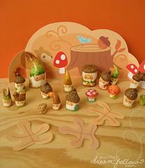 500 NM party! (merwinglittle dear) Tags: autumn fall gnome mini acorn clay figure diorama nom paperclay