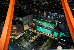 Kyoto Station (Mark Liddell) Tags: world road light panorama building bus tower heritage buses station japan skyline night train buildings season temple japanese lights site spring high ancient kyoto view buddha buddhist parking illumination vertigo trains scene historic unesco stop   nippon kyouto roads monuments nihon eki steep   honshu    kyto  honsh honshuu