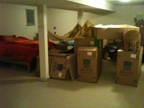 fort in the basement