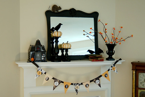 Edgar Allen Poe inspired Halloween mantel.