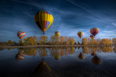 2010 Hot Air Balloon 302 (TVGuy) Tags: autumn lake hot reflection fall water colors colorado air balloon flight boulder transportation