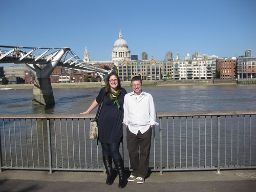 Grace and Mark on the Millenium Bridge, St. Paul's in the background