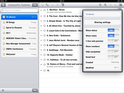 iPad Screenshot - CarbonFin Outliner