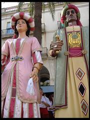 fotografia dels gegants del pi, mustafa y elisenda; gigantes y cabezudos de barcelona