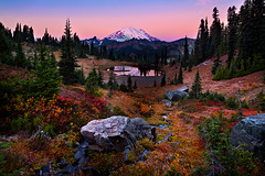 Tipsoo Fall Color (KPieper) Tags: autumn reflection fall sunrise washington twilight mtrainier chinookpass tipsoolake
