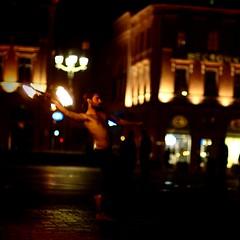 Capitole by night... Fire Man! (StefanoG.com) Tags: street man color fire toulouse capitole placeducapitole stefanotofs worldland olympusep2 voigtlandernokton5011 20101015