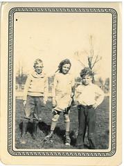 Three Little Rascals (rustycate) Tags: autumn blackandwhite fall vintage hair glasses 1930s texas wind sweaters farm roller meander skates littlerascals runningaround kidsplaying foxco