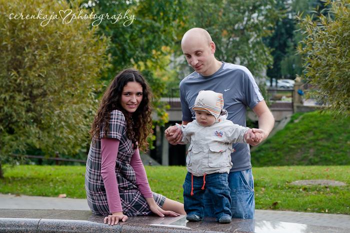 Осенняя фотосессия в парке. Андрюша с мамой и папой