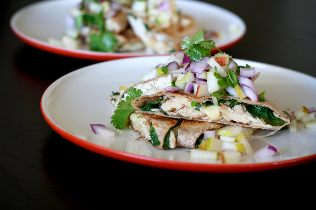 Chicken & Spinach Quesadillas with Pear Salsa
