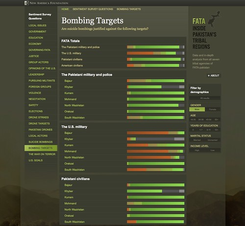 "Screenshot showing responses to ""Are suicide bombings justified against the following targets?"""