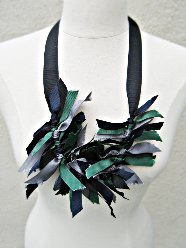 grosgrain ribbon necklace DIY -worn long