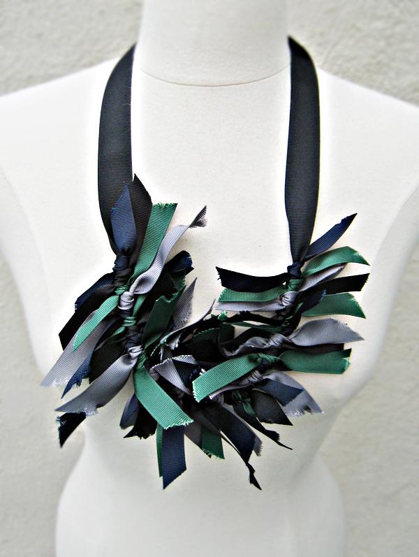 grosgrain ribbon necklace DIY -worn long