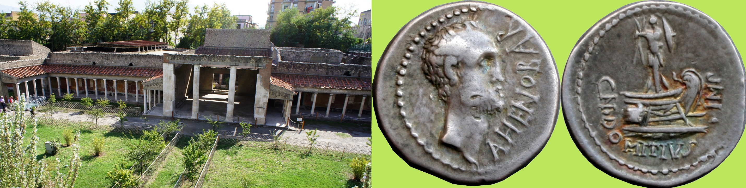 519/2 coin of Domitius Ahenobarbus, Consul 32BC, great-grandfather of the Emperor Nero, alongside the Oplontis Palace of Poppaea, wife of the Emperor Nero
