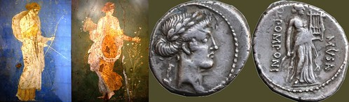 52BC 410/7 coin of Pomponia with Erato muse of erotic poetry, with her attribute, a Flower, the Primavera of Stabiae picking Flowers, and Diana in blue with bow and arrow