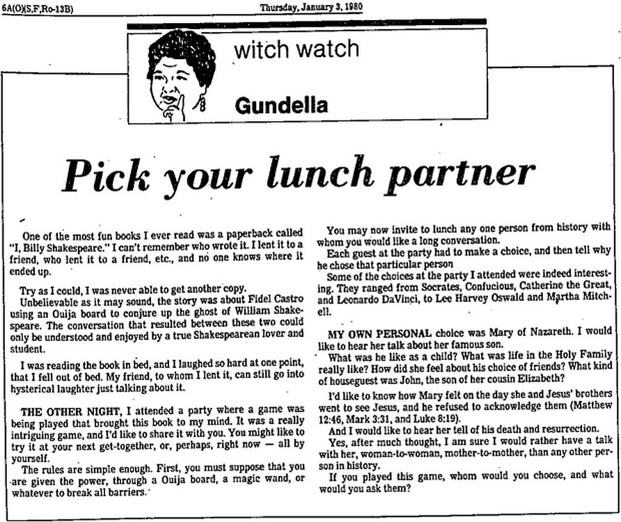 Witch Watch: Pick your lunch partner