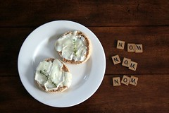 scrabble nom (olaolenka) Tags: english cheese letters scrabble muffin crumpet nom