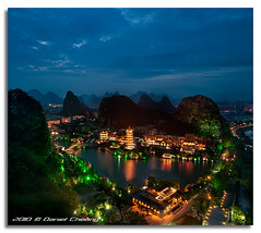 Once Upon A Time In Guilin (DanielKHC) Tags: china blue mountain lake mountains green night digital pagoda high nikon long exposure dynamic guilin 5 hill fairy karst range dri tale hdr blending guanxi d300 diecai mulong danielcheong danielkhc tokina1116mmf28