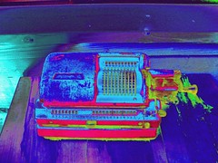 the old calculator or shock for eyes (Fredothefirst) Tags: old trip pink blue abstract surrealism edited painted memories machine popart numbers calculator abstraction spicy colourful machines coloured calc counting shocking