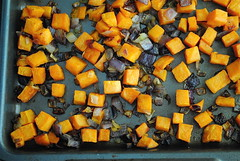 roasted sweet potatoes and red onion