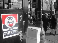 (Barrybu) Tags: street chicago art poster square for mayor logan swiv