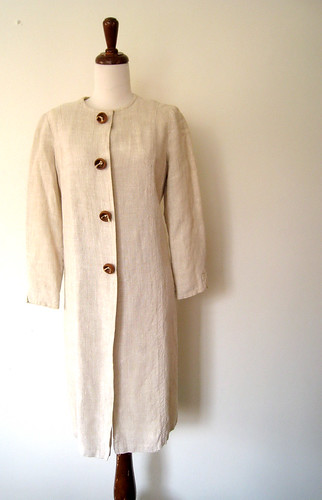 Lanz Originals Linen Dress with Wood Buttons, 1960's