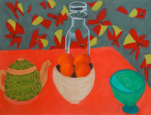 """Glass Bottle with Flowered Cloth - pastel on paper 22"""" x 30"""" $1100"""
