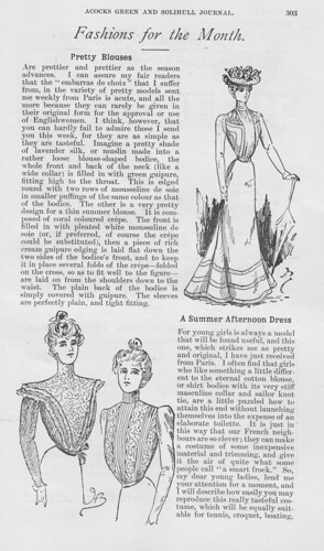 Fashions for the month. Acocks Green and Solihull Journal. August 1899.