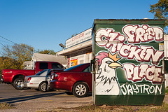 Fried Chicken Place (Viajante) Tags: sign dumpster austin us parkinglot texas unitedstates friedchicken eastaustin