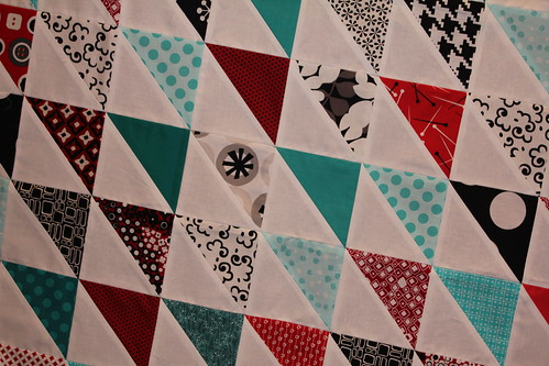 Half square triangle red + aqua quilt