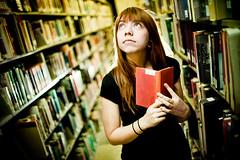 Bookworm (moiht) Tags: red portrait book library sherri mcad strobist