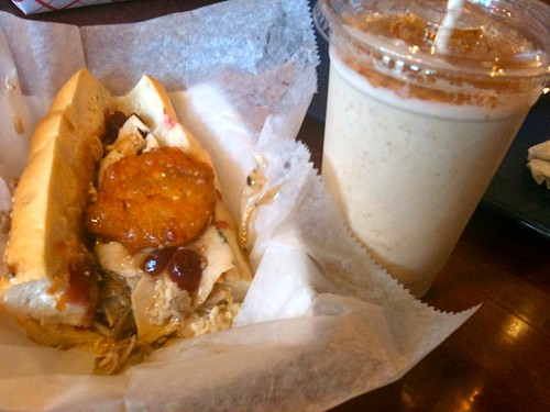 Turducken sandwich  and pumpkin pie shake- Jake's Sandwich Board
