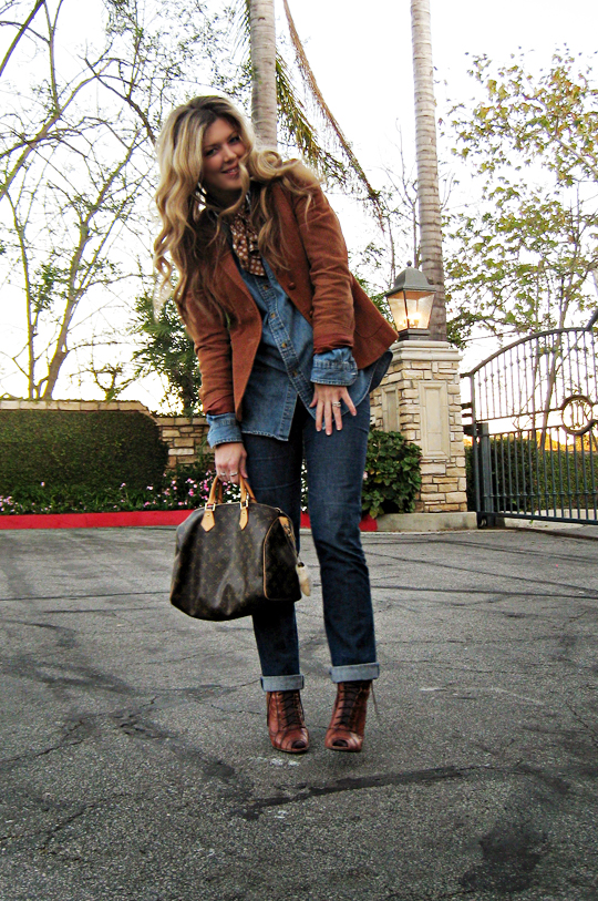 denim shirt and jeans+cognac corduroy blazer+lace up boots with socks