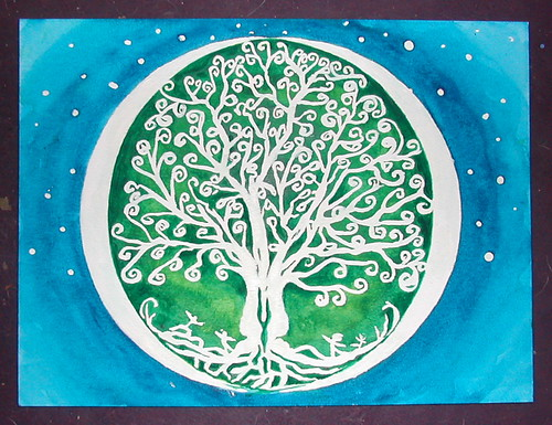 Toronto Art therapist and visual artist watercolour painting of the tree of life