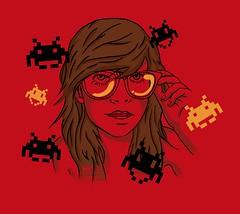 NerdCoreInvader (micKken) Tags: nerd girl illustration glasses geek garota camiseta óculos estampa tshit mickken mundolol