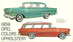 auto color car ads advertising buick caravan brochure polster opel 1959 fabrics farben paintchip upholstery rekord