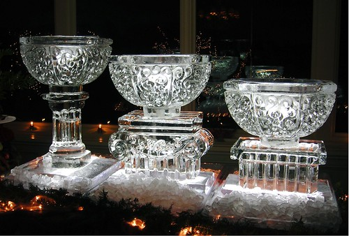 Ice bowls Trio on Pedestals ice sculpture