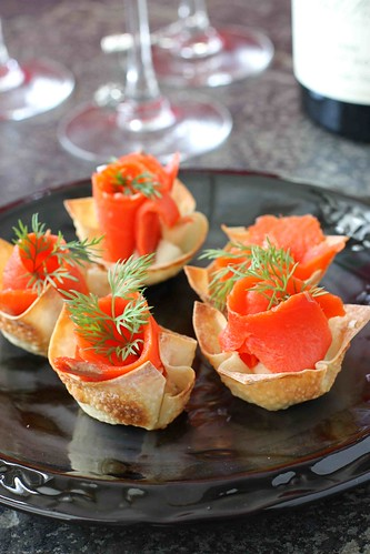 Smoked Salmon & Horseradish Mascarpone in Wonton Cups Recipe | cookincanuck.com