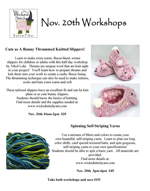 2 workshops this weekend at The Wicked Stitch