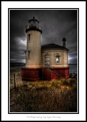 Coquille Lighthouse / HDR / Beach / Bandon / Oregon / Kyle Bailey / Clouds / Ocean / Water / Texture / Coquille River / Canon (Kyle Bailey - Da Big Cheeze) Tags: red lighthouse storm texture beach clouds oregon coast decay grunge frame vignette hdr highdynamicrange borderfx kylebailey rookiephoto dabigcheeze wwwrookiephotocom