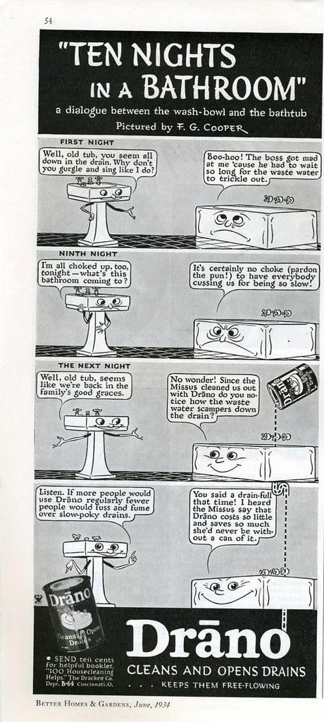 """Drano """"Ten Nights in a Bathroom"""" 1934"""