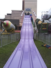 the big purple slide...see him at the very top?  We did it once together, and then he wanted to do it himself.