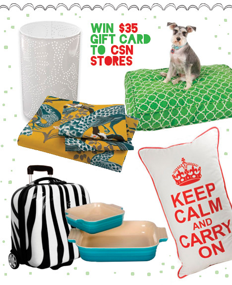 CSN Holiday Giveaway - Nov 2010, holiday giveaway, csn giveway, $35 gift card, keepcalm and carry on, pillow, notNeutral White Season Hurricanes - Set of Two lantern, cute doggy bed, dd07 - Title Track Gusseted Dog Duvet Molly Mutt, Heys USA Hardside Business Exotic eCase in Zebra briefcase,  travel, modern kitchen cookware, Le Creuset 9