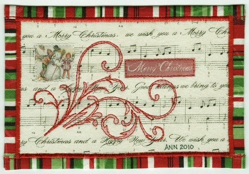 Merry Christmas Fabric Postcard
