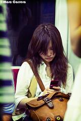 Underground Voyeur III (Marc Carrera) Tags: people woman window girl japan underground gente metro seat voyeur mvil tokio ventanilla espia marccarera