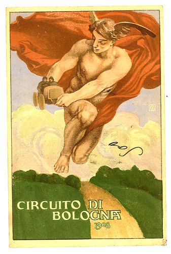 009-Circuito di Bologna 1908-© 2010 Vintage Auto Posters. All Rights Reserved