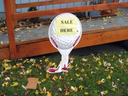 estate sale sign. Golf ball sale sign. Okay!