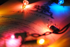 such a beautiful place... (dani maree) Tags: pink blue friends light red orange book glow magic text letters harrypotter christmaslights dumbledore